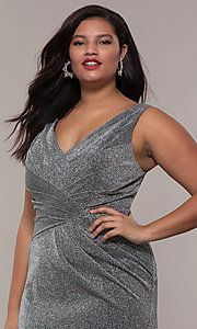 Image of pleated-waist plus-size glitter-knit formal dress. Style: SC-PL-PG-C Detail Image 1