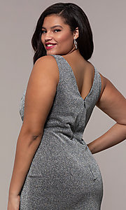 Image of pleated-waist plus-size glitter-knit formal dress. Style: SC-PL-PG-C Detail Image 2