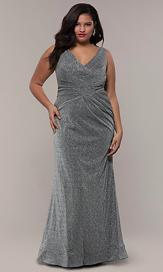 28fafe52d37 Silver. Pleated Waist Plus-Size Glitter Knit Formal Dress