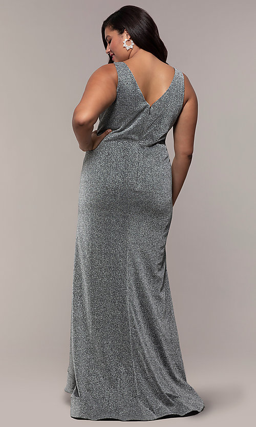 Image of pleated-waist plus-size glitter-knit formal dress. Style: SC-PL-PG-C Back Image