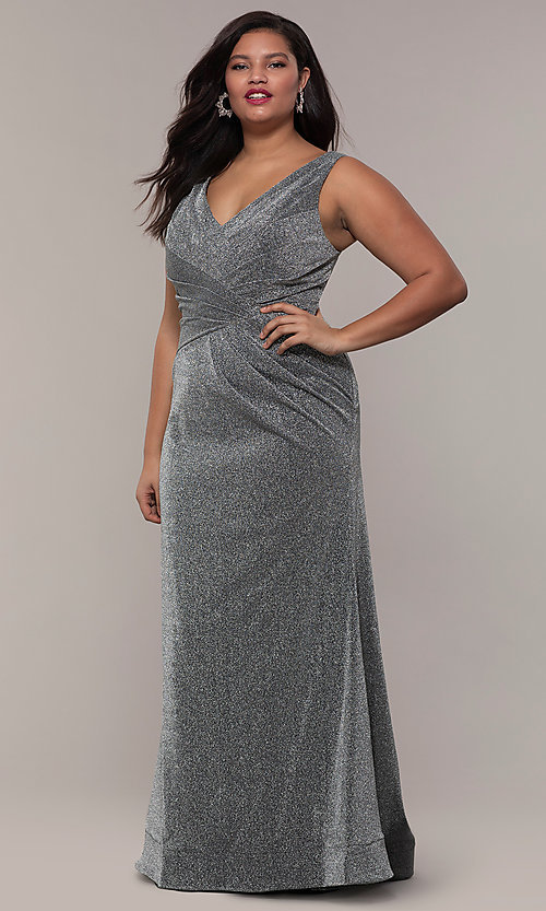 Image of pleated-waist plus-size glitter-knit formal dress. Style: SC-PL-PG-C Detail Image 3