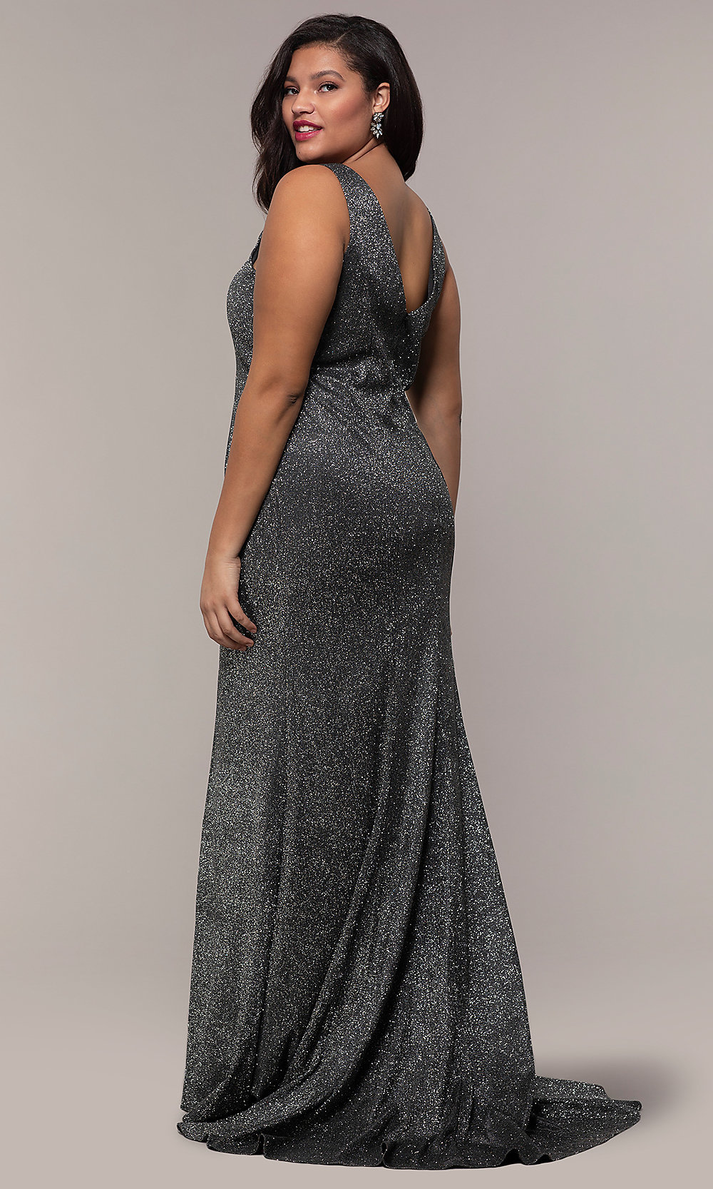 Plus-Size Long V-Neck Glitter-Knit Formal Dress