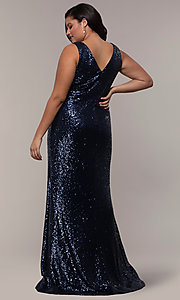 Image of plus-size long sequin v-neck formal evening dress. Style: SC-PL-PG-E Detail Image 5