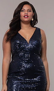 Image of plus-size long sequin v-neck formal evening dress. Style: SC-PL-PG-E Detail Image 6