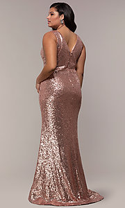 Image of plus-size long sequin v-neck formal evening dress. Style: SC-PL-PG-E Back Image