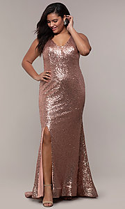 Image of plus-size long sequin v-neck formal evening dress. Style: SC-PL-PG-E Detail Image 3