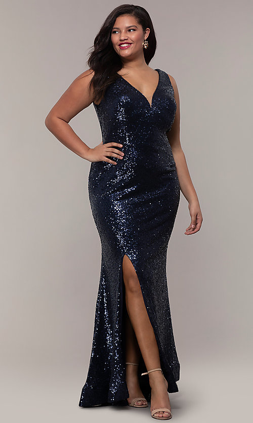 Image of plus-size long sequin v-neck formal evening dress. Style: SC-PL-PG-E Detail Image 4