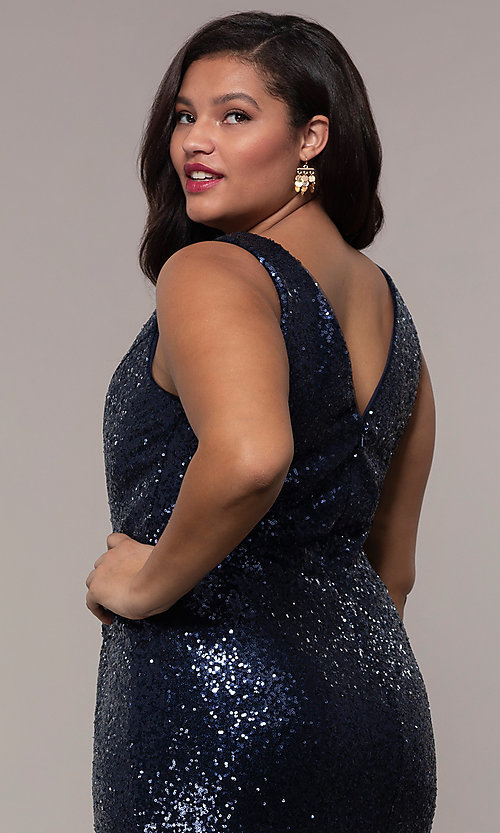 Image of plus-size long sequin v-neck formal evening dress. Style: SC-PL-PG-E Detail Image 7