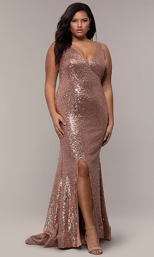 Image of plus-size long sequin v-neck formal evening dress. Style: SC-PL-PG-E Front Image