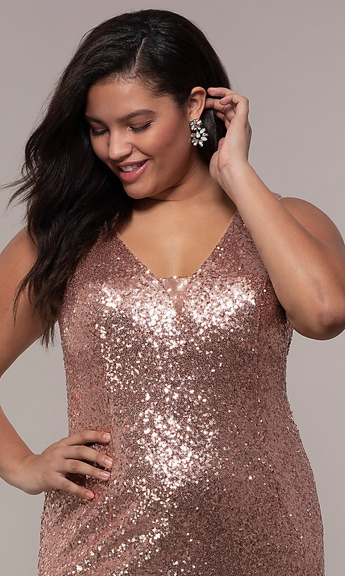 Image of plus-size long sequin v-neck formal evening dress. Style: SC-PL-PG-E Detail Image 1