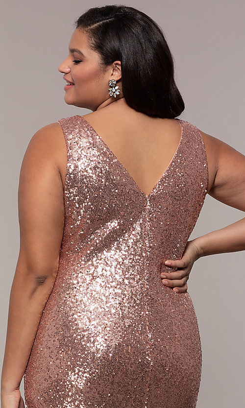 Image of plus-size long sequin v-neck formal evening dress. Style: SC-PL-PG-E Detail Image 2