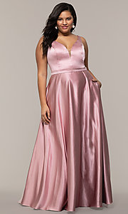 Image of plus-size long formal a-line v-neck evening dress. Style: SC-PL-PG-F Detail Image 4