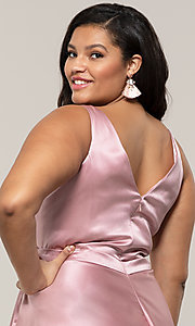 Image of plus-size long formal a-line v-neck evening dress. Style: SC-PL-PG-F Detail Image 7