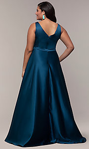 Image of plus-size long formal a-line v-neck evening dress. Style: SC-PL-PG-F Back Image