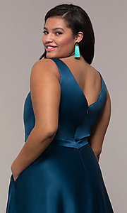 Image of plus-size long formal a-line v-neck evening dress. Style: SC-PL-PG-F Detail Image 2