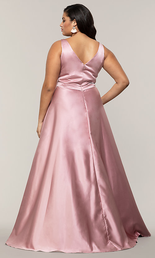 Image of plus-size long formal a-line v-neck evening dress. Style: SC-PL-PG-F Detail Image 5
