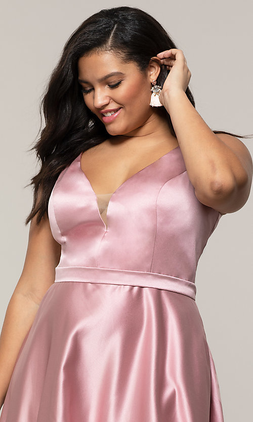 Image of plus-size long formal a-line v-neck evening dress. Style: SC-PL-PG-F Detail Image 6