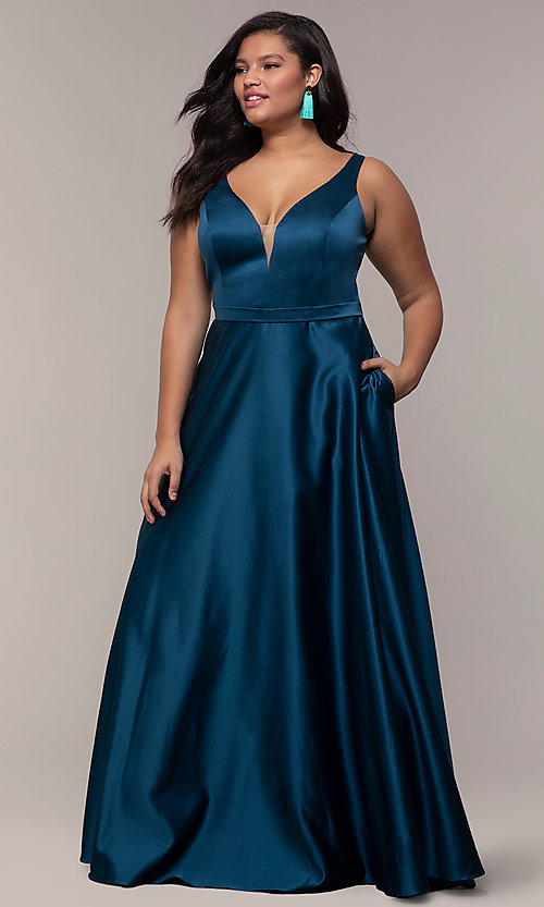 Image of plus-size long formal a-line v-neck evening dress. Style: SC-PL-PG-F Front Image