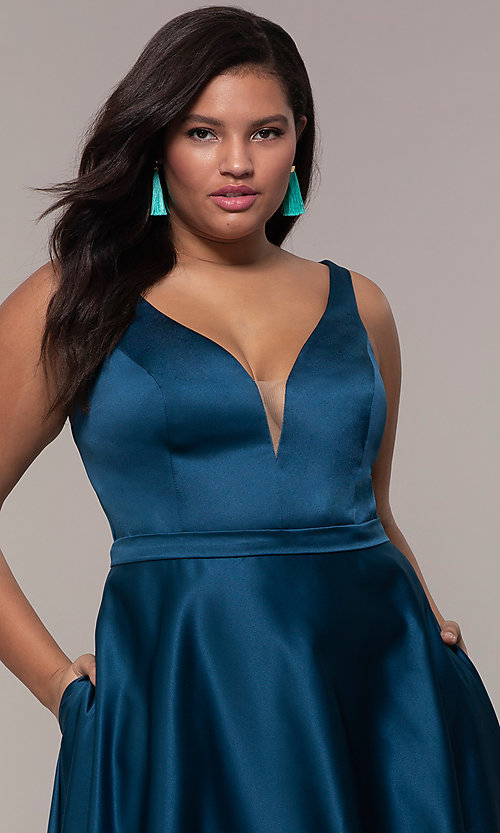 Image of plus-size long formal a-line v-neck evening dress. Style: SC-PL-PG-F Detail Image 1