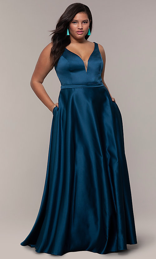 Image of plus-size long formal a-line v-neck evening dress. Style: SC-PL-PG-F Detail Image 3