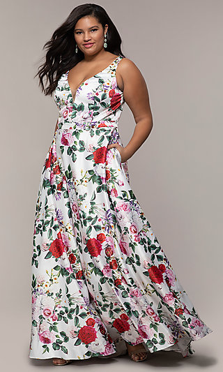Plus-Size Floral-Print V-Neck Long Formal Dress