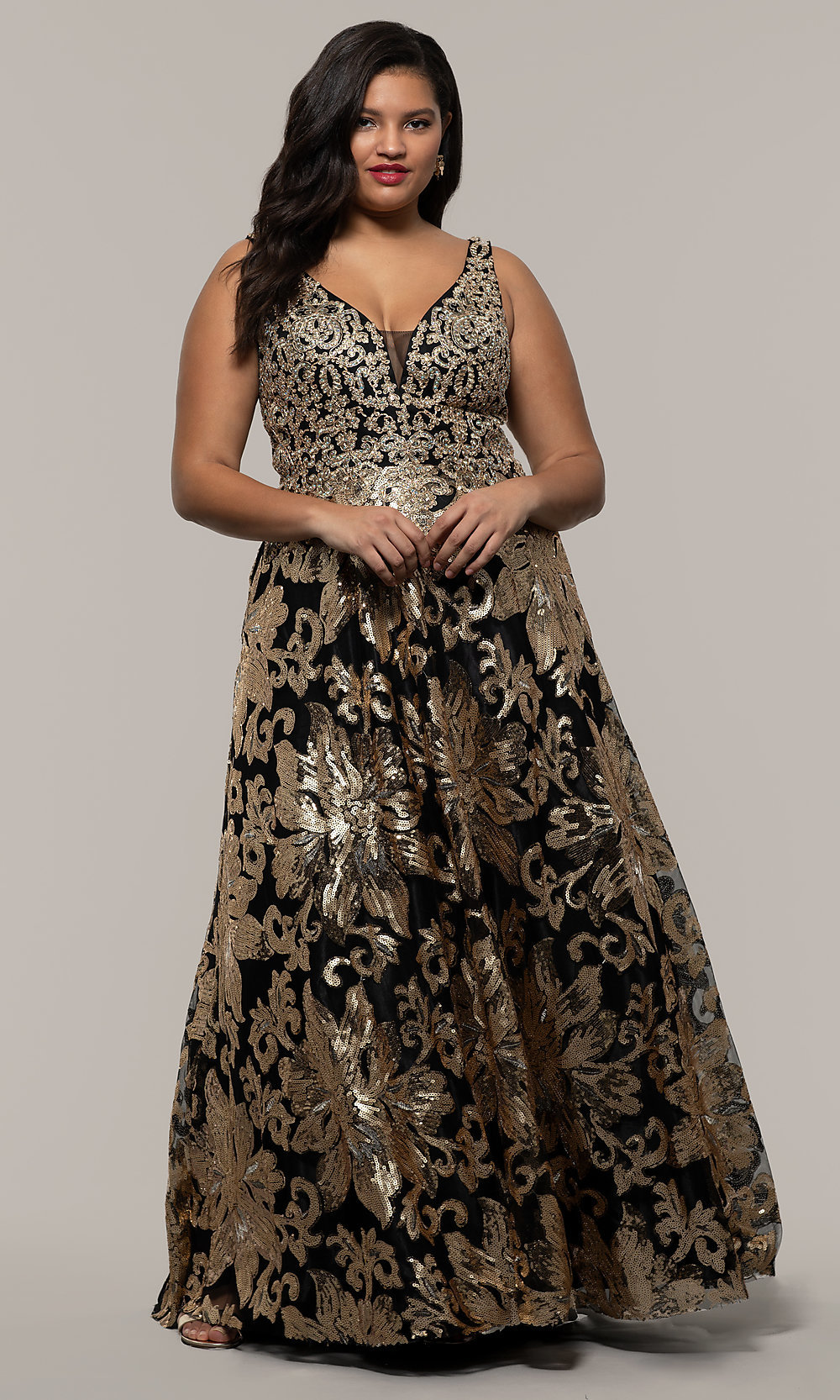 Plus-Size Long Sequin-Embroidered Formal Dress