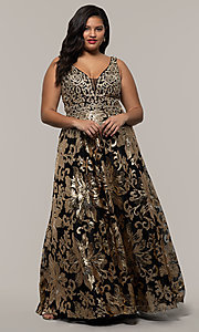 Image of plus-size long sequin-embroidered formal dress. Style: SC-PL-PG-H Front Image