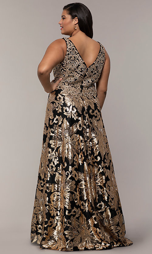 Image of plus-size long sequin-embroidered formal dress. Style: SC-PL-PG-H Back Image