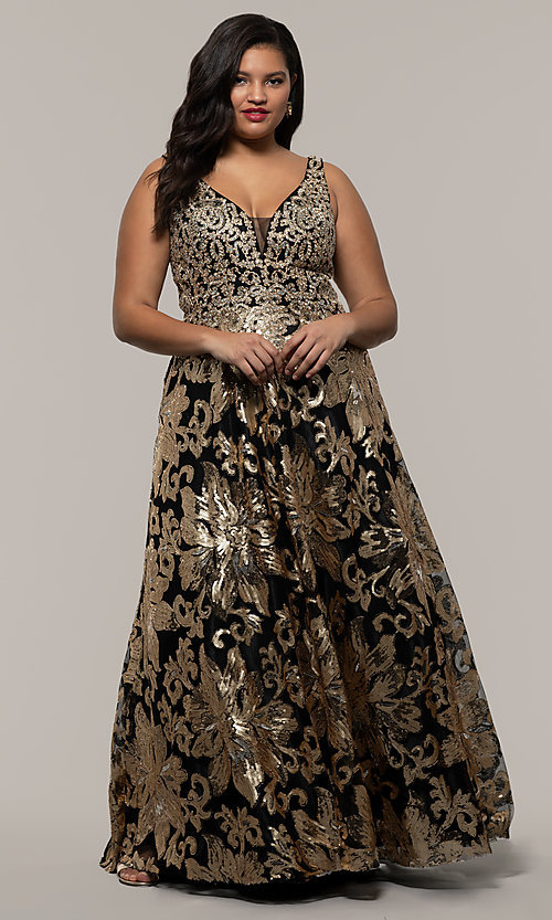 Plus Size Long Sequin Embroidered Formal Dress