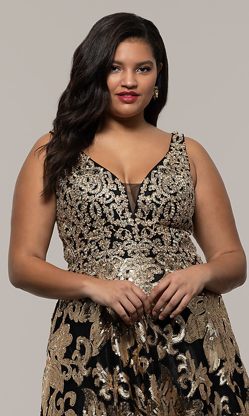 Image of plus-size long sequin-embroidered formal dress. Style: SC-PL-PG-H Detail Image 1