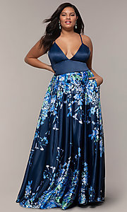 Image of navy blue plus-size formal dress with floral skirt. Style: SC-PL-PG-I Detail Image 3
