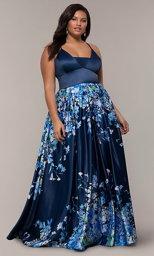 Image of navy blue plus-size formal dress with floral skirt. Style: SC-PL-PG-I Front Image