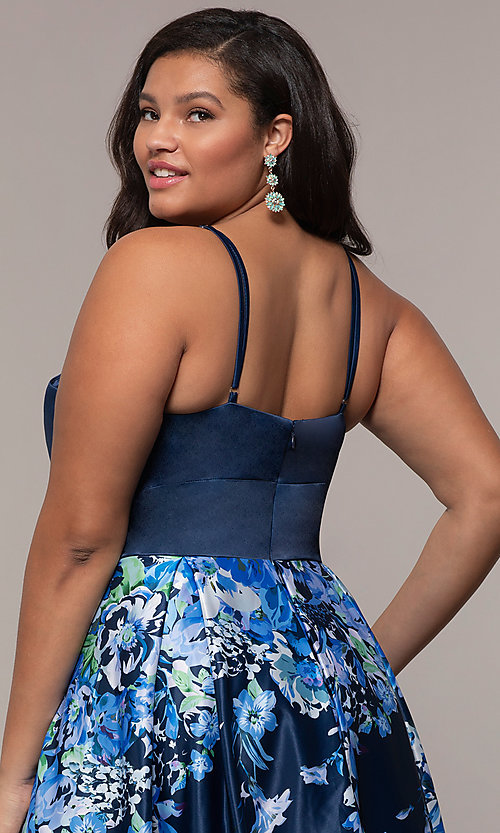 Image of navy blue plus-size formal dress with floral skirt. Style: SC-PL-PG-I Detail Image 2