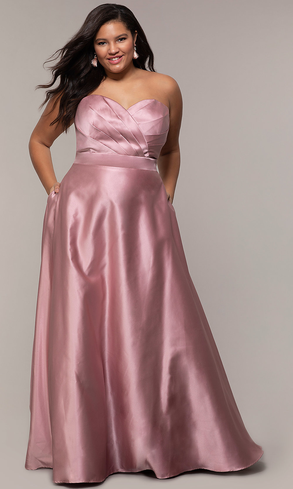 Corset Plus-Size Long Formal Dress with Pockets