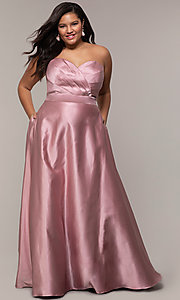 Image of corset plus-size long formal dress with pockets. Style: SC-PL-PG-J Front Image