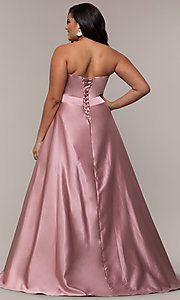 Image of corset plus-size long formal dress with pockets. Style: SC-PL-PG-J Back Image