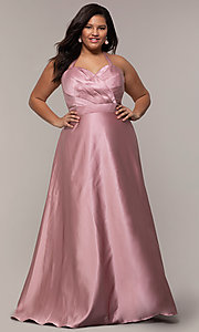 plussize corsetback long formal dress with pockets