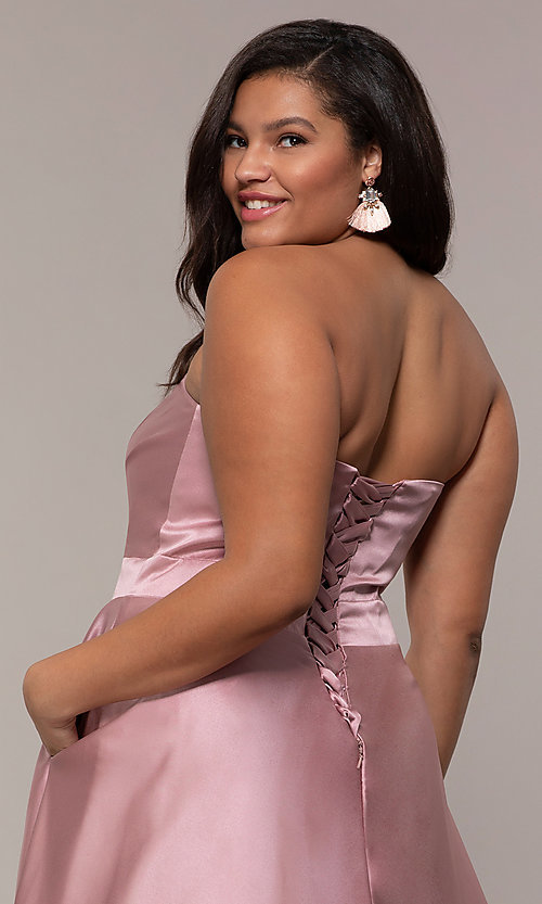 Image of corset plus-size long formal dress with pockets. Style: SC-PL-PG-J Detail Image 2
