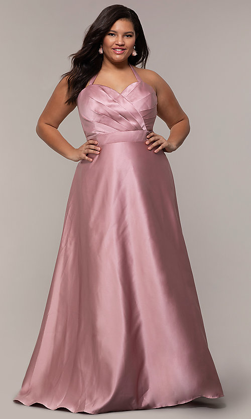 Image of corset plus-size long formal dress with pockets. Style: SC-PL-PG-J Detail Image 3