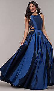 Image of ball-gown-style long formal dress in twilight blue. Style: FA-10248 Back Image