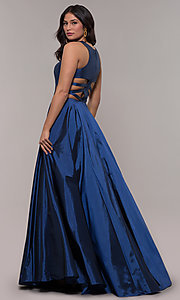 Image of ball-gown-style long formal dress in twilight blue. Style: FA-10248 Front Image