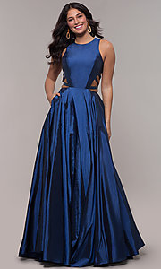 Image of ball-gown-style long formal dress in twilight blue. Style: FA-10248 Detail Image 3