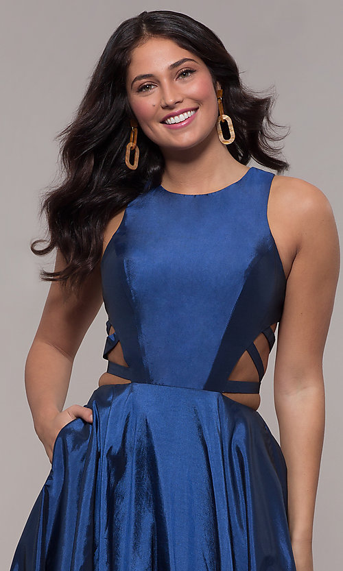Image of ball-gown-style long formal dress in twilight blue. Style: FA-10248 Detail Image 1