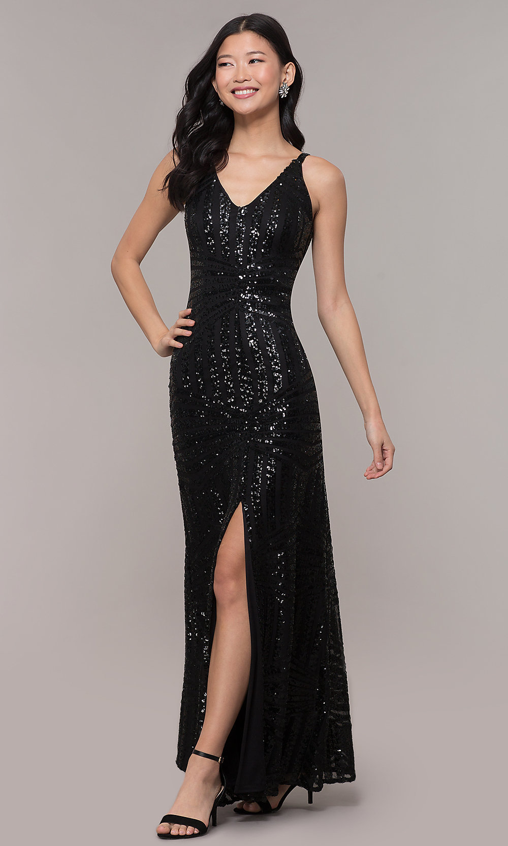 Striped Sequin V-Neck Long Black Formal