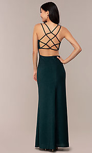 Image of side-slit glitter long prom dress with caged back. Style: MO-12681 Detail Image 7