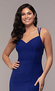 Image of side-slit glitter long prom dress with caged back. Style: MO-12681 Detail Image 1