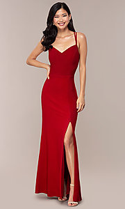 Image of side-slit glitter long prom dress with caged back. Style: MO-12681 Back Image