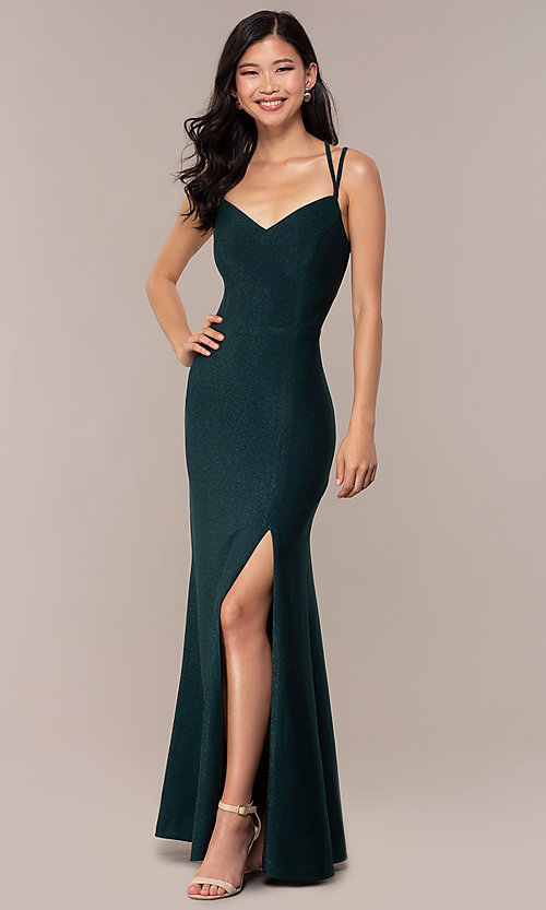 Image of side-slit glitter long prom dress with caged back. Style: MO-12681 Detail Image 6