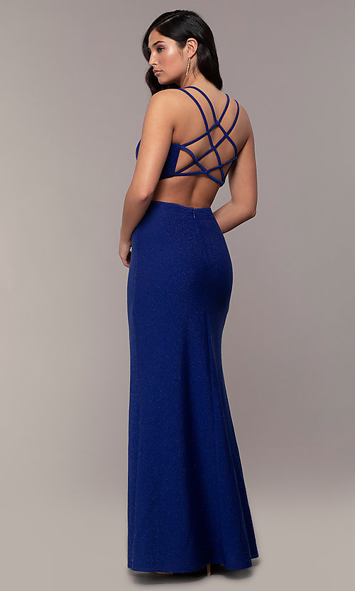 Image of side-slit glitter long prom dress with caged back. Style: MO-12681 Front Image