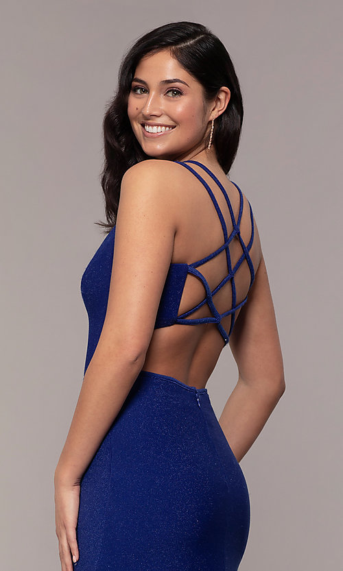 Image of side-slit glitter long prom dress with caged back. Style: MO-12681 Detail Image 2